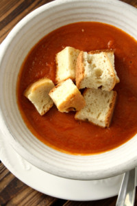 Sundried Tomato Soup with Badass Croutons