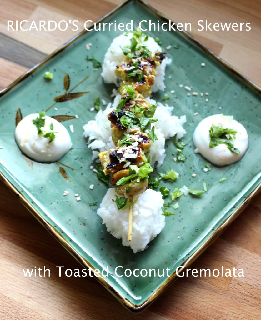 Ricardo's Curried Chicken Skewers with Toasted Coconut Gremolata