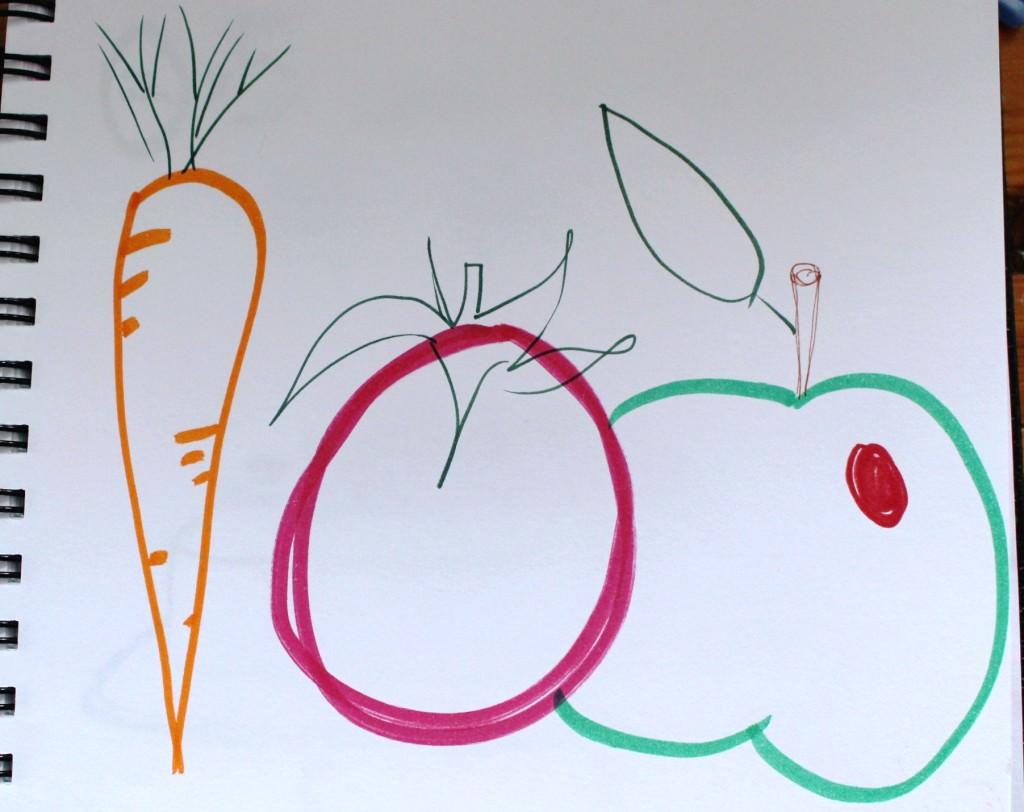 Working on foodie art with Koosje Koene