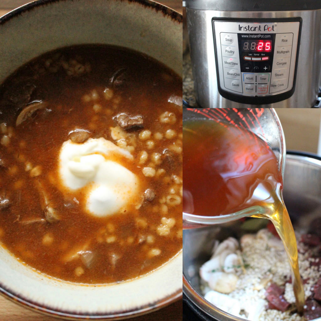 Instant Pot Beef Barley Mushroom Stew With Sour Cream