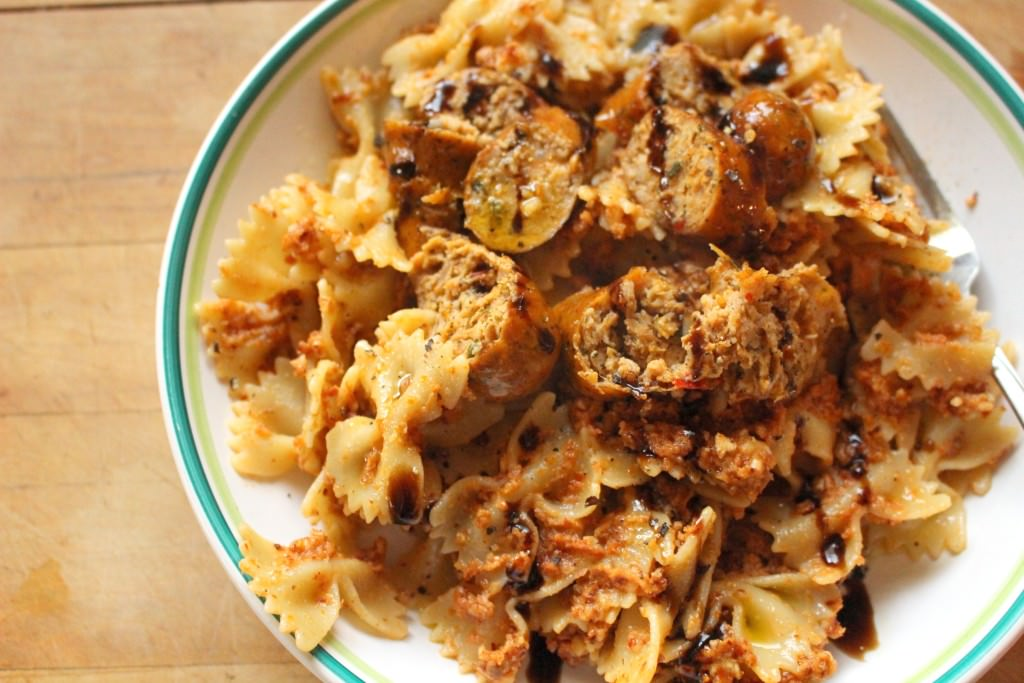 Roasted Almond and Sun Dried Tomato Goat Cheese Pesto with Bowtie Pasta