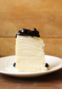 Foodie Bucket List: Vanilla Mille Crêpe Cake with Blueberry Sauce