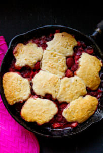 Cast Iron Strawberry Rhubarb Cobbler